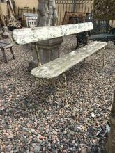 19th. C. cast iron and wooden garden bench.
