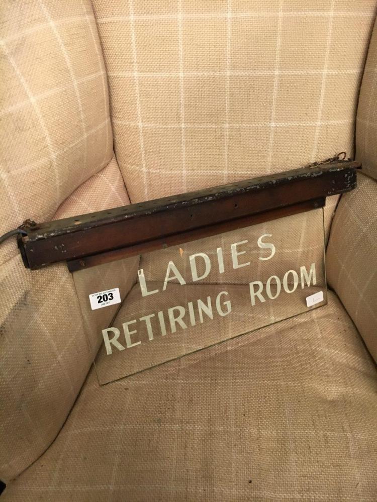 ladies retiring room light up sign. Black Bedroom Furniture Sets. Home Design Ideas