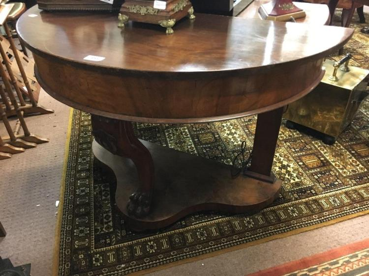 19th c mahogany demi lune hall table for Chaise demi lune