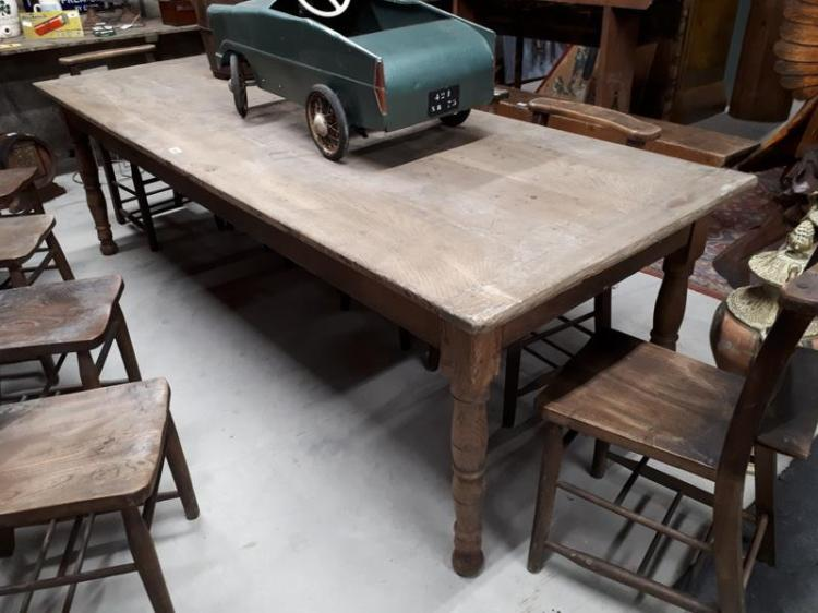 19th c elm kitchen table with single drawer in frieze and r for C table with drawer