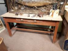 19th. C. pine table the scrub top above a single drawer in the frieze raise