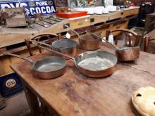 Misc. collection of 18th. & 19th. C. copper saucepans and pans.