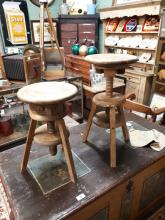 Pair of early 20th. C. elm Artist's stools.