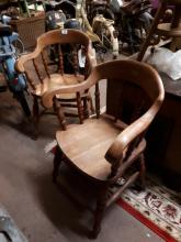 Pair of oak smoker's bow chairs.