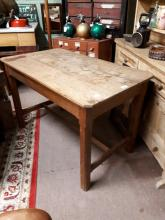 19th. C. oak kitchen table, raised on square camphered legs with single str