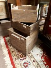 Three wooden advertising boxes - Rifle Horse Nails, Osmond's and Irish Crea