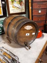 19th. C. metal bound Whiskey barrel.