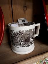 19th. C. transfer pattern cow mug.
