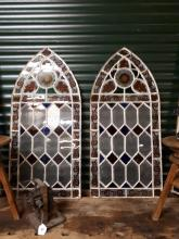 Pair of 19th. C. metal glazed windows in the Gothic style. { 123cm H X  57c