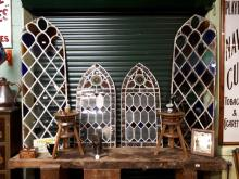 Pair of 19th. C. metal glazed windows in the Gothic style.{ 197cm H X  59cm