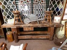 Early 20th. C. pine carpenter's work bench. { 250cm L}.