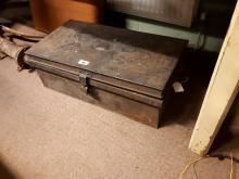 Tin metal deed box.
