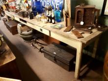 19th. C. pine server the scrubbed pine top above three frieze drawers raise