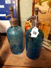 Two 1930's blue glass siphons.