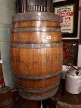 Forty gallon oak metal bound barrel.