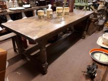 19th. C. oak refectory table raised on turned legs with single stretcher. {