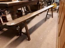 Two 19th. C. oak benches. { 200cm L }.