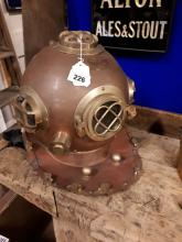 Brass and copper diver's helmet.