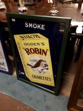 Rare Smoke Ogden's Robin enamel sign.