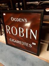 Ogden's Robin Cigarettes enamel sign.