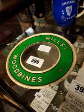 Will's Woodbine tinplate advertising mirror.