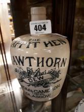 19th. C. stone ware flagon  - The Tappit Hen Hawthorn Dew Thomas Cameron, G