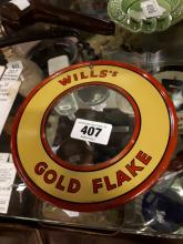 Will's  Gold Flake tin plate mirror.