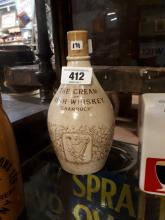 Late 19th .C. stone ware flagon  - The Cream Of Irish Whiskey with Shamrock