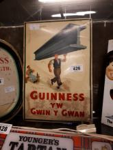 Rare early 20th C. Guinness celluloid advertisement bi - lingual English an