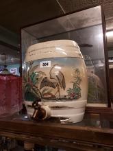 19th C. pictorial ceramic whisky barrel.