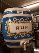 19th C. ceramic rum dispenser.