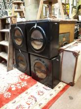 Set of four early 20th. C. Bakelite speakers with microphone box.