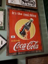 Hand painted Coca Cola advertising plaque.