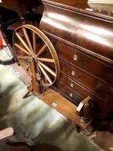19th C. spinning wheel.