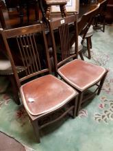 Two 19th. C. pine children's stools in original paint.