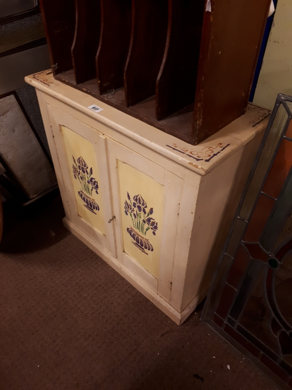 19th c painted pine two door kitchen cabinet for Auctions for kitchen cabinets