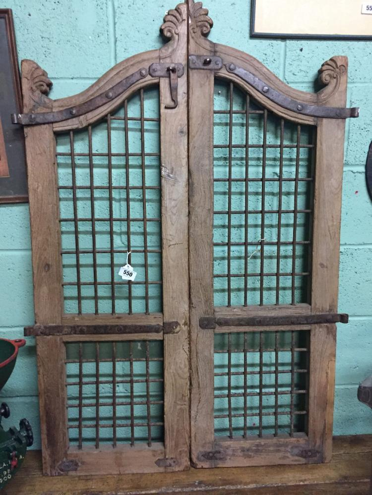 Lot 550 Pair Of 19th C Doors With Inset Iron Lattice Panels 198cm H X 98cm W