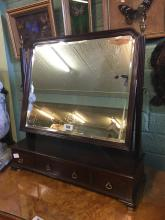 Georgian mahogany dressing table mirror with three drawers.