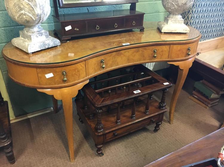 Edwardian bird s eye maple dressing table in kidney shape