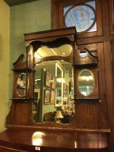 Victorian inlaid mahogany overmantle.