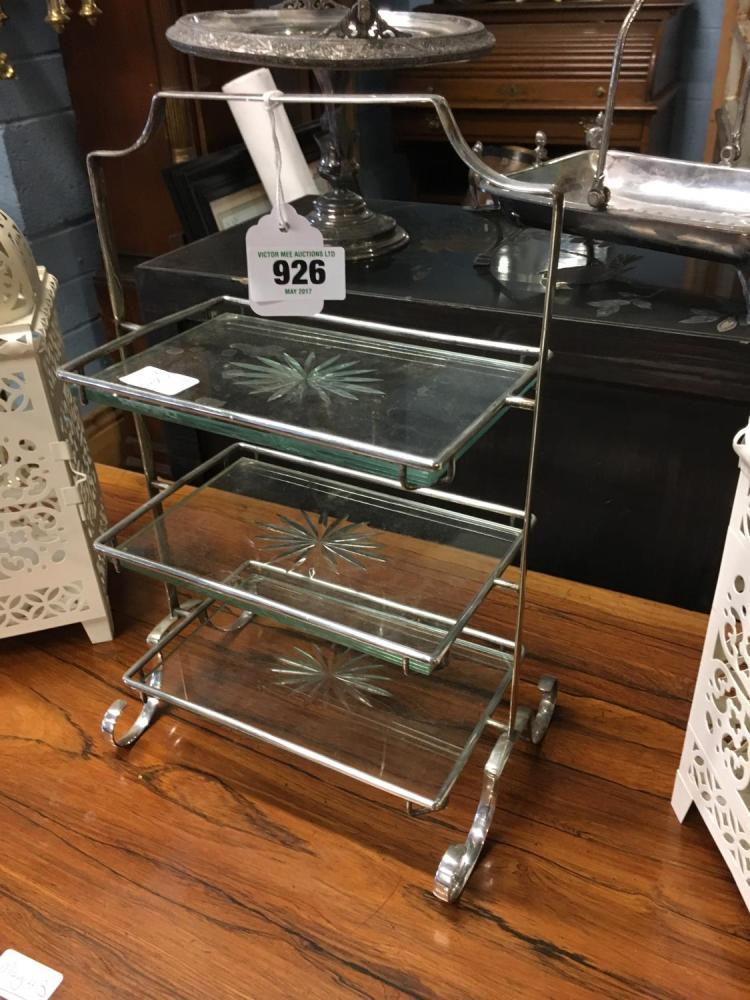 Art Deco Chrome Cake Stand : Art Deco chrome and glass cake stand.