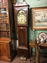 Georgian inlaid mahogany long cased clock with painted arch dial signed by