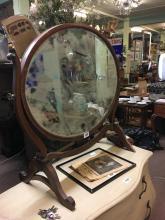 Georgian mahogany inlaid dressing table mirror.