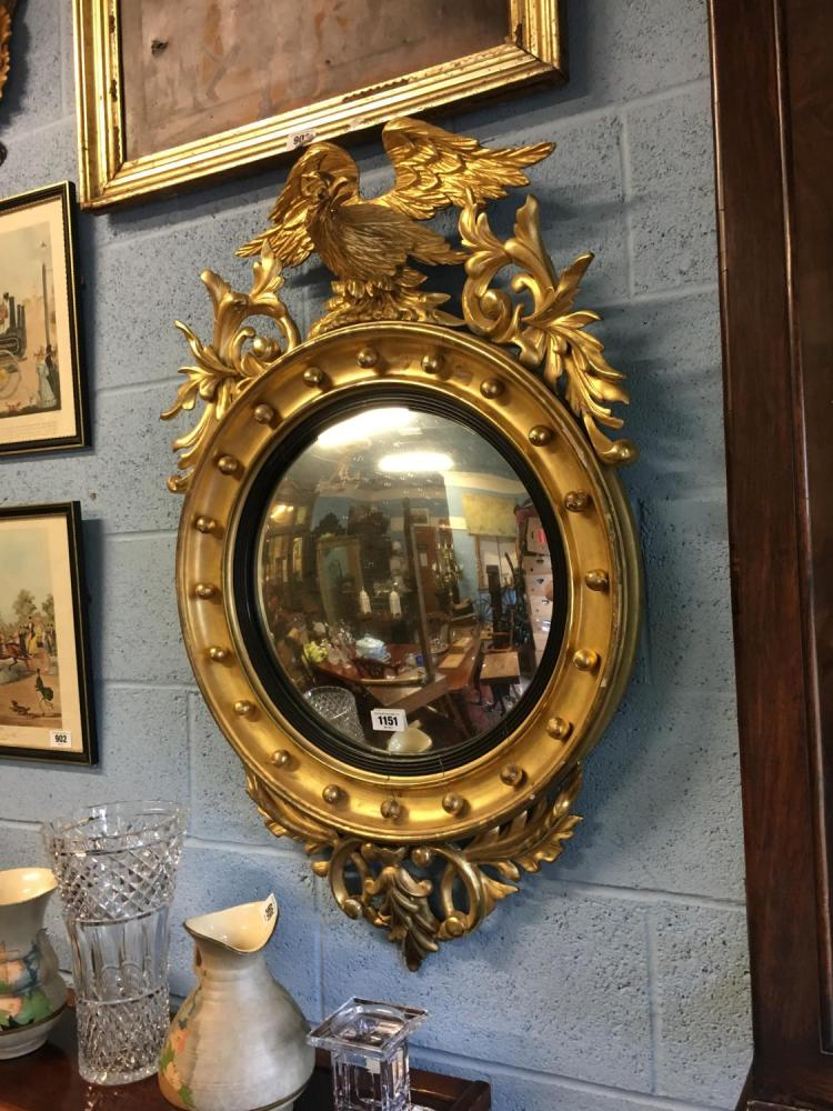 Good quality 19th c gilt wood convex mirror summounted with for Mirror quality