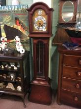 Mahogany long cased clock with Westminster chimes.
