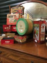 Collection of old advertising tins - CARBONEL, OATFIELD, MARSHMALLOW etc.