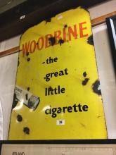Original WOODBINE cigarette enamel advertisement.