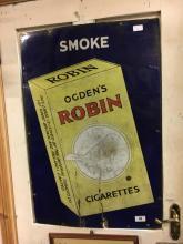 Original enamel ROBIN CIGARETTES advertising sign.