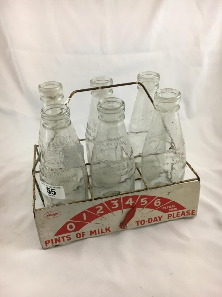 milk bottle carrier and six old milk bottles. Black Bedroom Furniture Sets. Home Design Ideas
