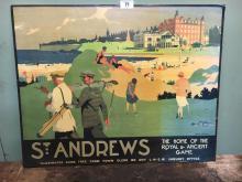 Coloured golfing print of St. Andrews.